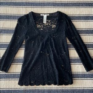 DVF black lace blouse with shell